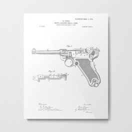 Recoil Firearm Vintage Patent Hand Drawing Metal Print