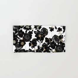 Modern Elegant Black White and Gold Floral Pattern Hand & Bath Towel