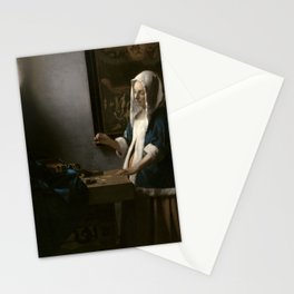 Woman Holding a Balance Oil Painting by Johannes Vermeer Stationery Cards