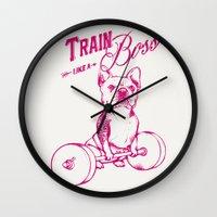boss Wall Clocks featuring Train Like A Boss by Huebucket