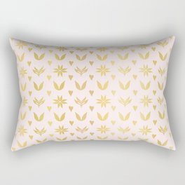 Luxe Rose Gold Winter Damask Hearts, Seamless Vector Pattern, Hand Drawn Metallic Rectangular Pillow