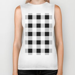 western country french farmhouse black and white plaid tartan gingham print Biker Tank