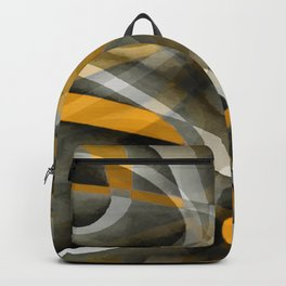 Eighties Retro Mustard Yellow and Grey Abstract Curves Backpack
