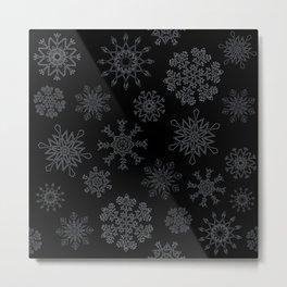 Snowflakes (hollow on black) Metal Print