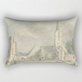 Church and ruins of the Rijnsburg abbey, Hermanus Petrus Schouten, 1757 - 1822 Rectangular Pillow