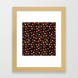 Autumn Leaves Pattern Black Background Framed Art Print