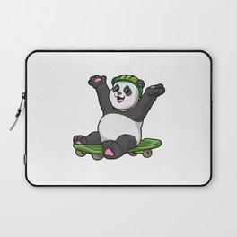 Panda as Skater with Skateboard and Helmet Laptop Sleeve