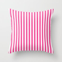 Neon pink white minimalist geometrical stripes Throw Pillow