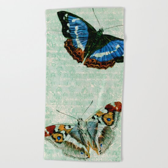 Vintage Butterflies 02 Beach Towel