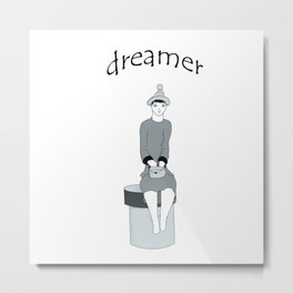 a girl sits and dreams Metal Print