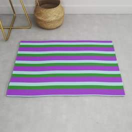 Dark Orchid, Powder Blue, and Forest Green Colored Lined Pattern Rug