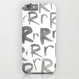 Watercolor R's - Grey Gray iPhone Case