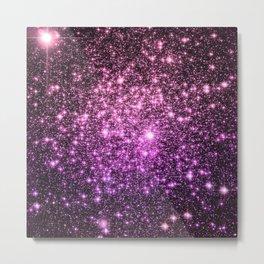 Glitter Galaxy Stars : Pink Lavender Purple Ombre Metal Print