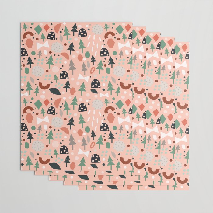 Holiday Forest MINI Pink Wrapping Paper