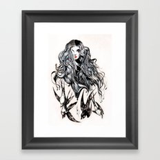 Woman & birds Framed Art Print