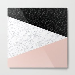 Patchwork pink and marble Metal Print
