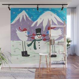 Birds building a Snowman Wall Mural