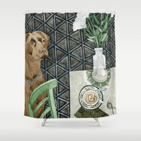 labrador Shower Curtains featuring Geometry Labrador by Yuliya