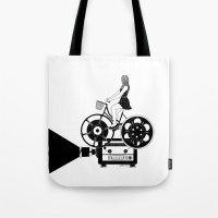 cinema Tote Bags featuring Cinema Paradiso by Henn Kim