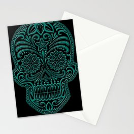 Intricate Teal Blue and Black Day of the Dead Sugar Skull Stationery Cards