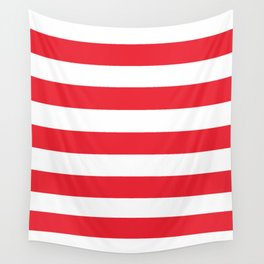 Sprint Red -  solid color - white stripes pattern Wall Tapestry