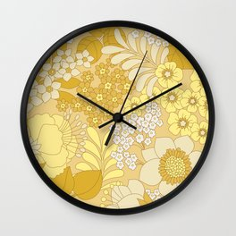Yellow, Ivory & Brown Retro Floral Pattern Wall Clock