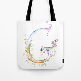 Letter G watercolor - Watercolor Monogram - Watercolor typography - Floral lettering Tote Bag