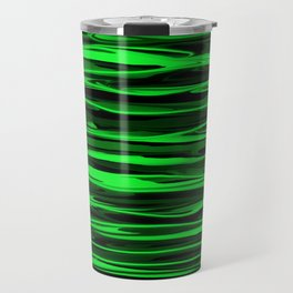 Lime Green and Black Stripes Travel Mug