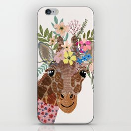 Giraffe with flowers on head iPhone Skin