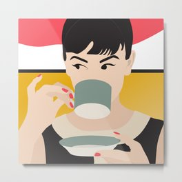 Audrey Tea Time Metal Print