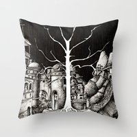 gondor Throw Pillows featuring The dark plague by Anca Chelaru