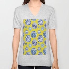 Chinoiserie Ginger Jar Collection No.2 Unisex V-Neck