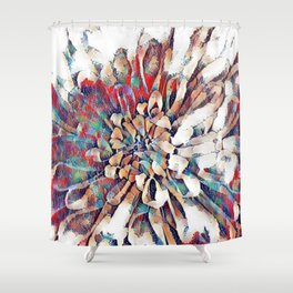 Japanese Inspired Lily Design Sketch Shower Curtain