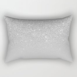 Trendy modern silver ombre grey color block Rectangular Pillow