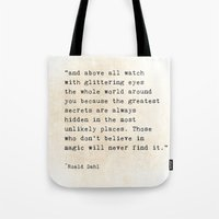 roald dahl Tote Bags featuring Glittering Eyes by ShadeTree Photography