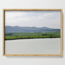 Beautiful spring morning froggy landscape in Tuscany countryside, Italy. Lake Santa Luce Serving Tray