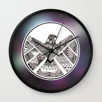shield Wall Clocks featuring SHIELD by Ruth Ms
