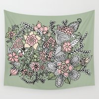 preppy Wall Tapestries featuring Modern green pink floral handdrawn pattern by Girly Trend