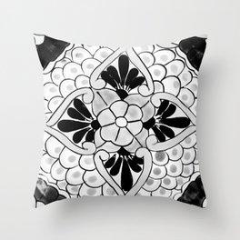 Black and White Talavera Nine Throw Pillow