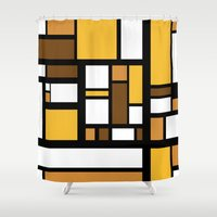 70s Shower Curtains featuring 70s Deco by Lily Mitchell