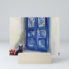 Greek Island Black Cat Santorini Greece cat painting Mini Art Print