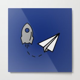 Rocket and origami paper airplane Metal Print