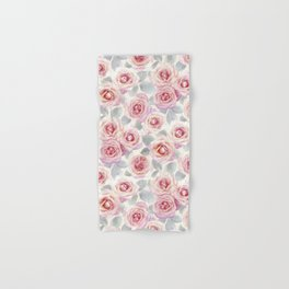 Mauve and Cream Painted Roses Hand & Bath Towel