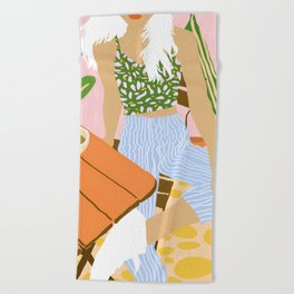 Kawa Tea #illustration #fashion Beach Towel