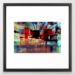 Red Chairs, Blue Chairs, Green Framed Art Print