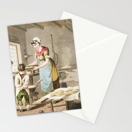 Illustration of woman making oat cakes from The Costume of Yorkshire (1814) by George Walker (1781-1 Stationery Cards