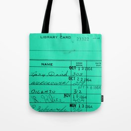 LIbrary Card 23322 Turquoise Tote Bag