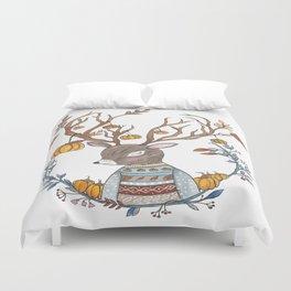 Autumn Pumpkin Deer Duvet Cover