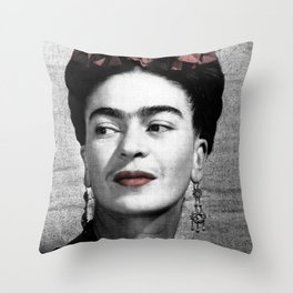 Halftone Frida Throw Pillow