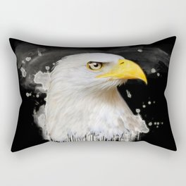 Watercolor American Eagle Illustration On Black Background Rectangular Pillow